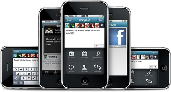 iPhone with facebook and twitter in one