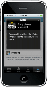 Bump Feature for iPhone and HootSuite