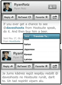 Translate Twitter with HootSuite iPhone