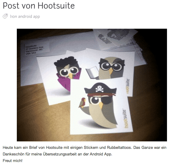 HootSuite owl stickers in Germany