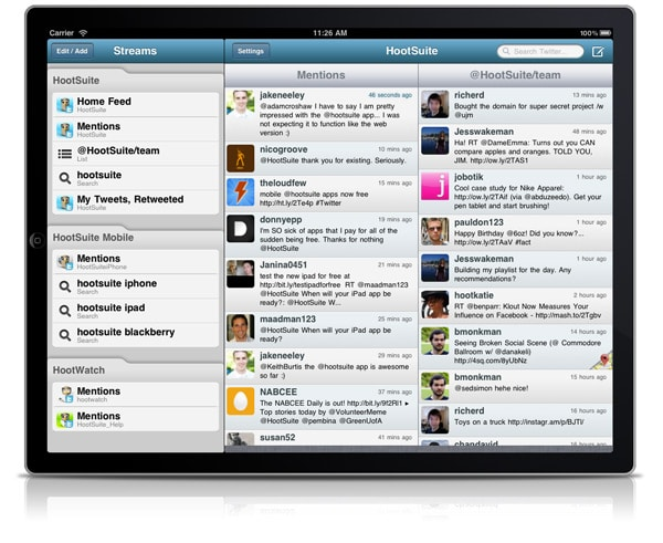 View Streams on HootSuite iPad