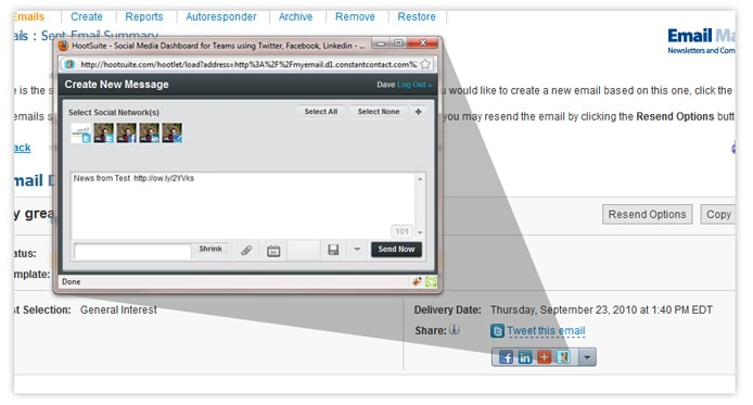 HootSuite Social Share Tool for Constant Contact