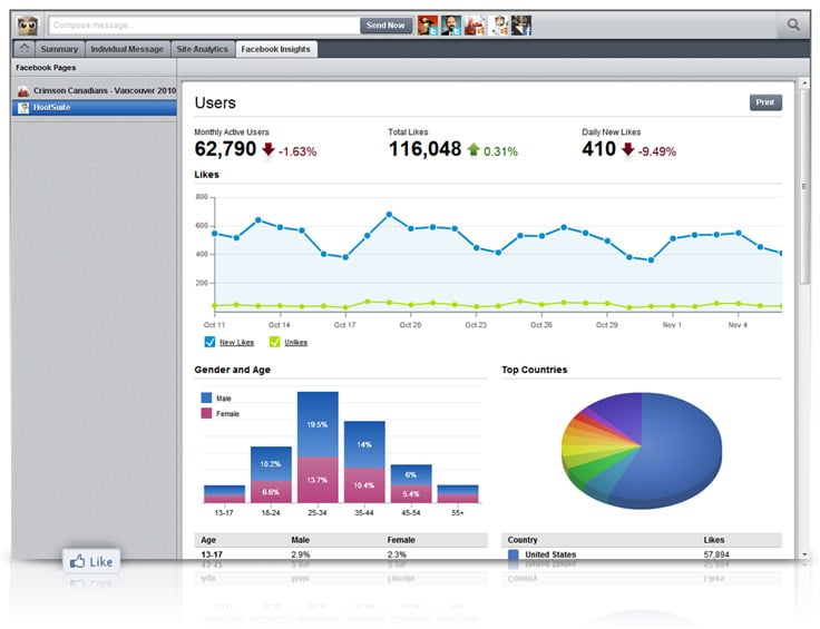 Facebook Insights in HootSuite