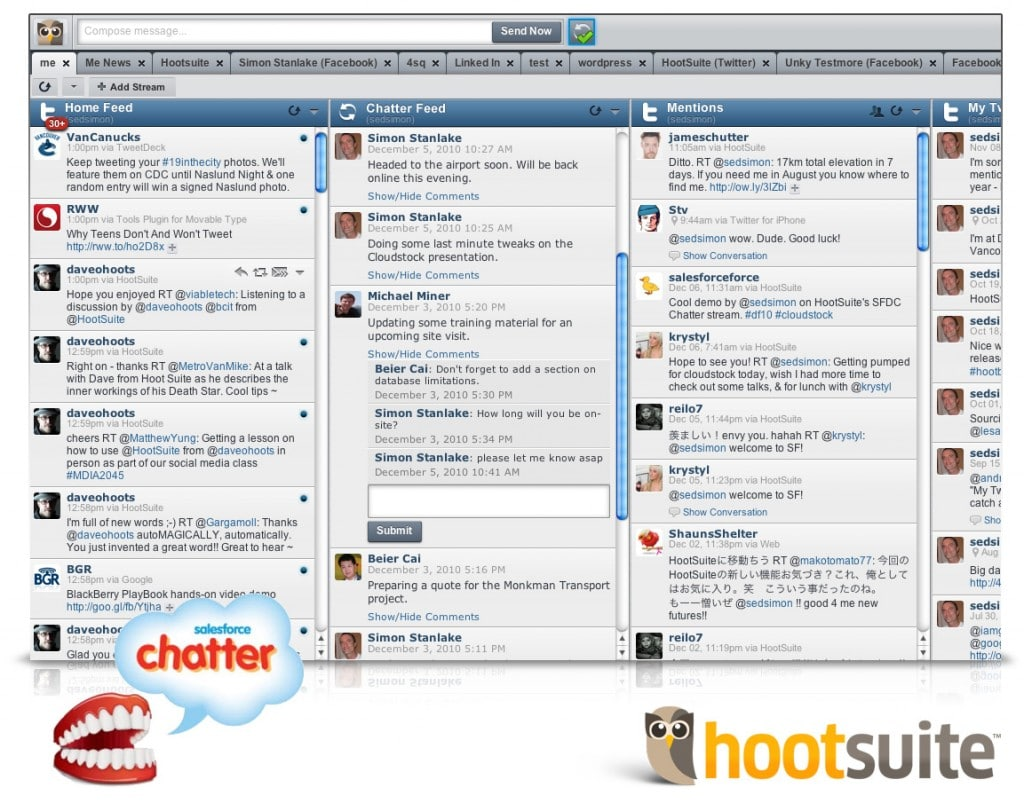 HootSuite dashboard Chatter example