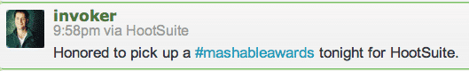 Honored to pick up a #mashableawards tonight for HootSuite.