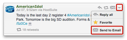 Send an email with your favorite message straight from HootSuite