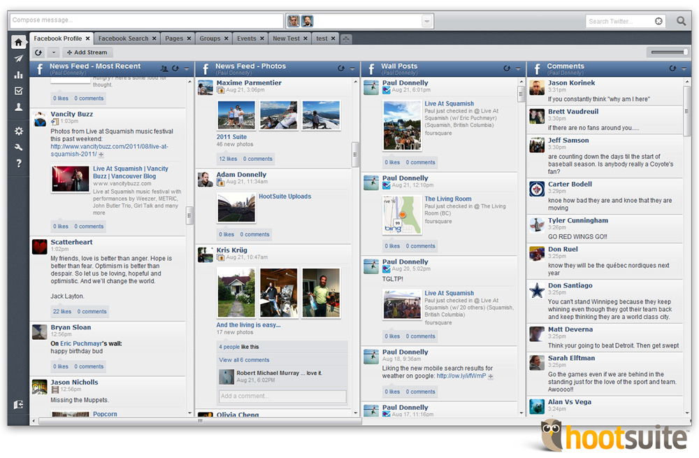 Tools for managing Facebook in HootSuite