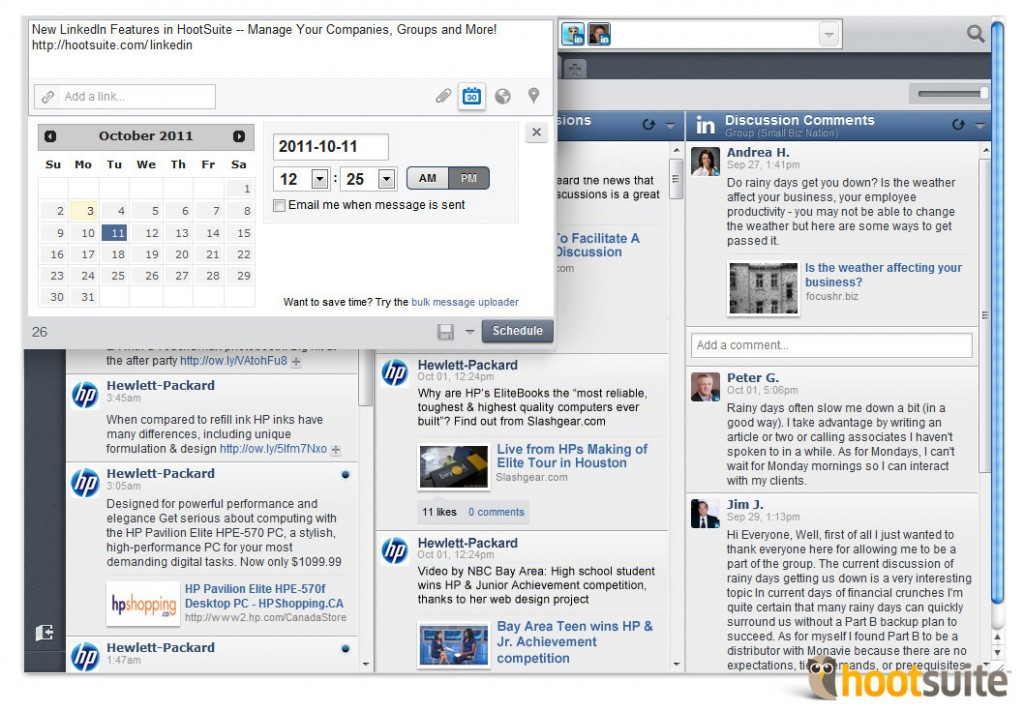 LinkedIn for HootSuite - dashboard