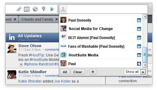 LinkedIn for HootSuite - post to profiles