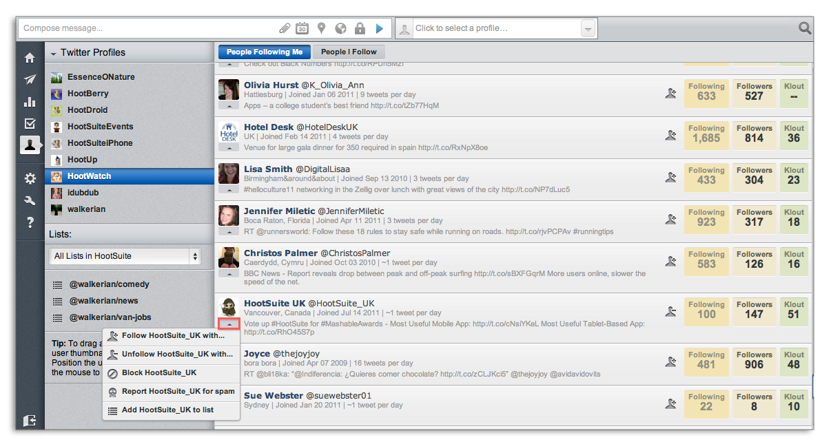 Quick Options Contacts HootSuite Twitter