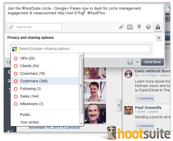 Google+ Page circles in HootSuite