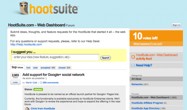 HootSuite UserVoice TechCrunch