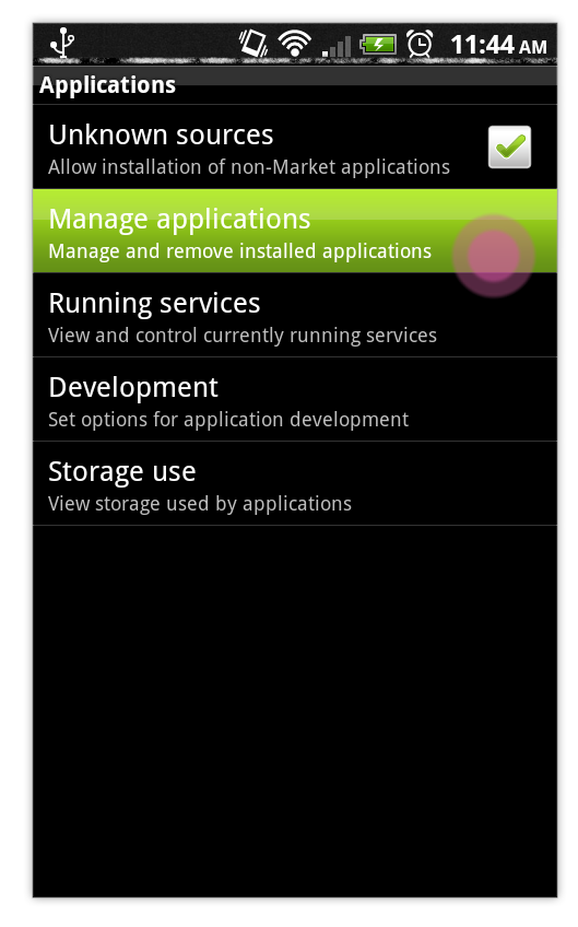 Manage Applications Android