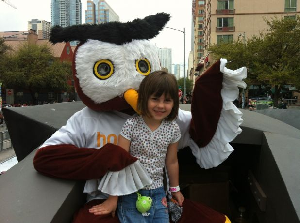 Owly rides the HootBus with a HooFan