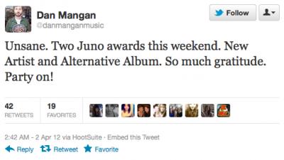 Dan Mangan Juno Win