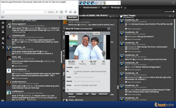 The HootSuite Dashboard in Bahasa Indonesia