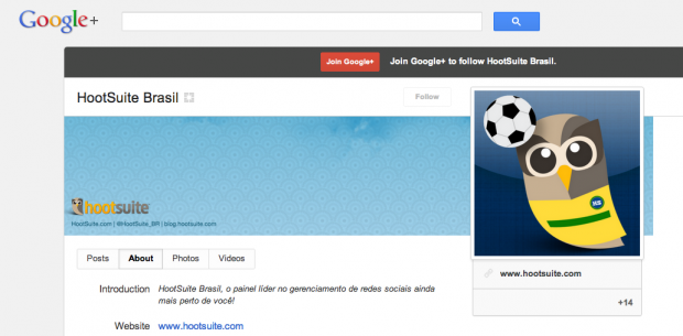 Página da HootSuite Brasil no Google+