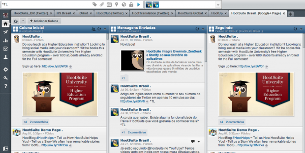 Google+ Pages no Painel HootSuite