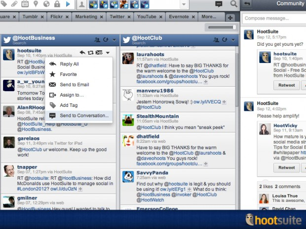 HootSuite Conversations allows you to collaborate