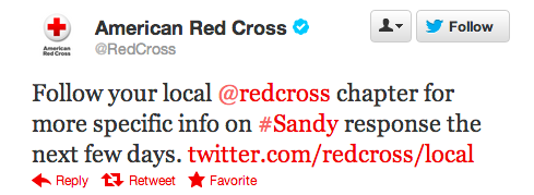 Red Cross tweet #Sandy