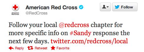 Red Cross tweet #Sandy