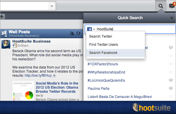 Facebook search in the HootSuite dashboard