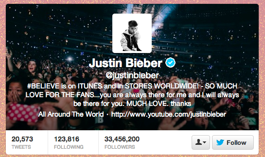 Join 33.4 million people and follow Biebs on Twitter