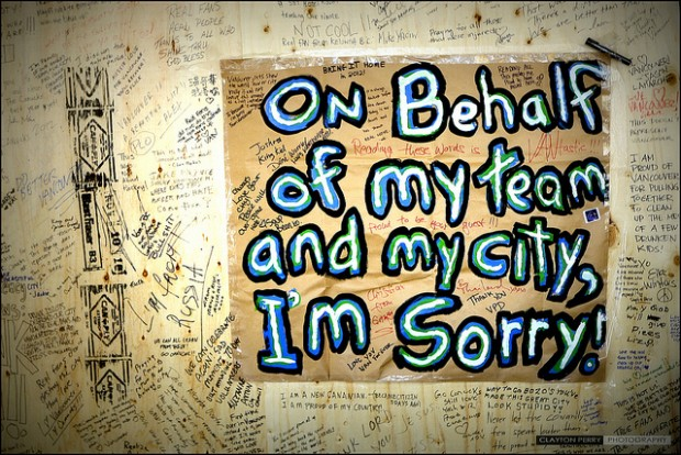 Vancouverites express regret after the events of June 15, 2011 - Image via Clayton Perry