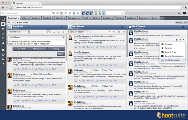 Create new updates and even share messages from Twitter and Facebook streams directly to your Socialcast communities.