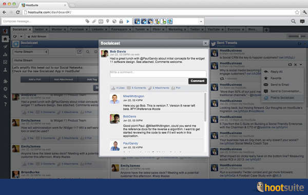 View comments, likes, attachments and polls for Socialcast community updates.