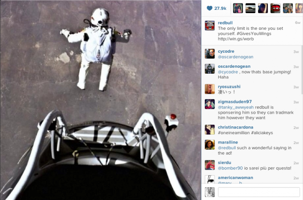 Redbull's Instagram has very little product placement, instead it's an photographic account of everything extreme.