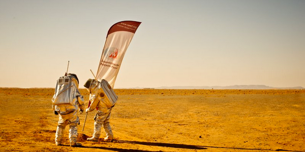 Scientists from the Austrian Space Forum lay claim in the red sand