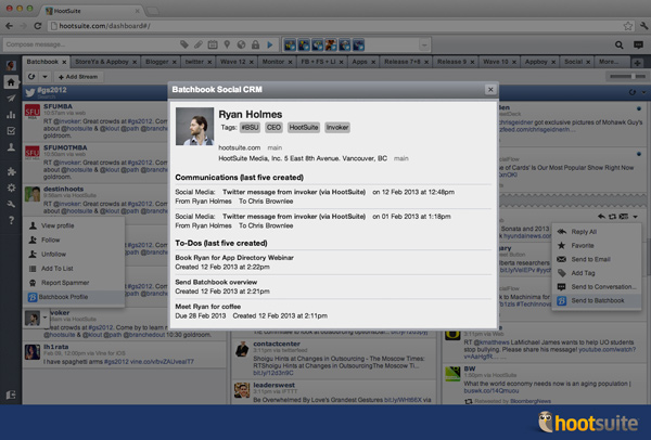 Viewing a Batchbook profile  in the HootSuite dashboard