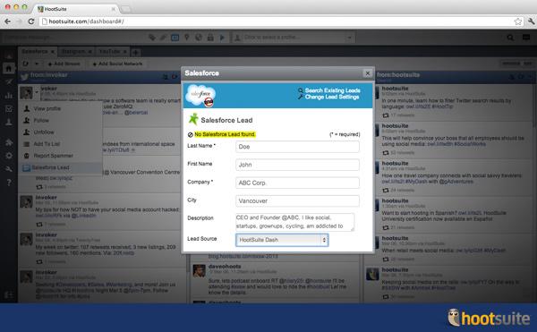 Salesforce Premium App in HootSuite
