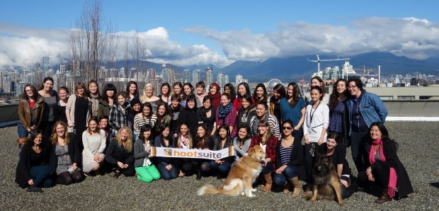 Having this many women work at HootSuite inspires other women to follow in our footsteps confidently. Photo taken on International Women's Day at HootSuite headquarters.