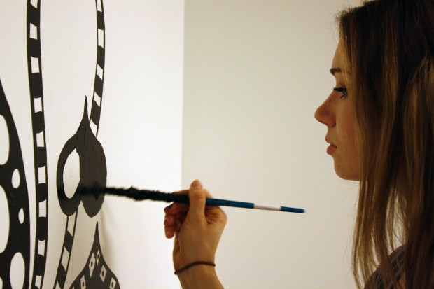 """Ola Volo says she drew inspiration from the """"social"""" aspect of social media while creating her mural."""