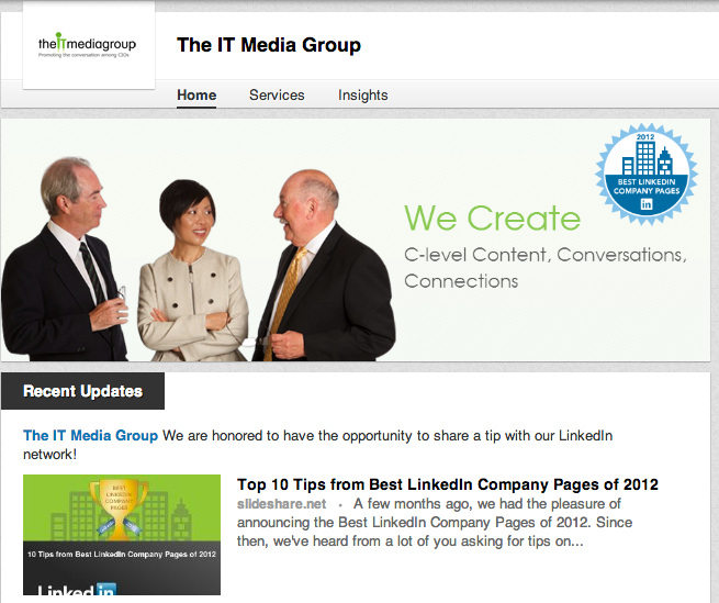 The IT Media Group suggests getting employees involved in sharing your LinkedIn Company Page.