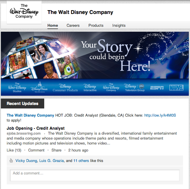 The Walt Disney Company believes the key to a good LinkedIn Company Page is frequent posting.