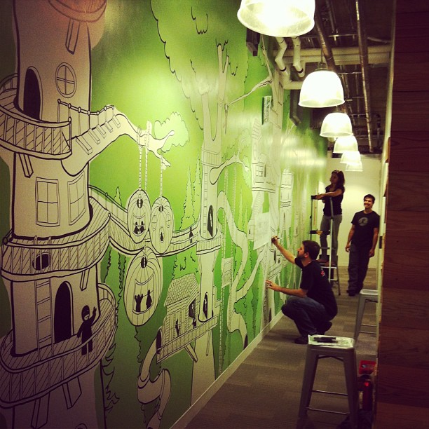 The Treehoiuse mural in process. Instagram photo by @_dlight