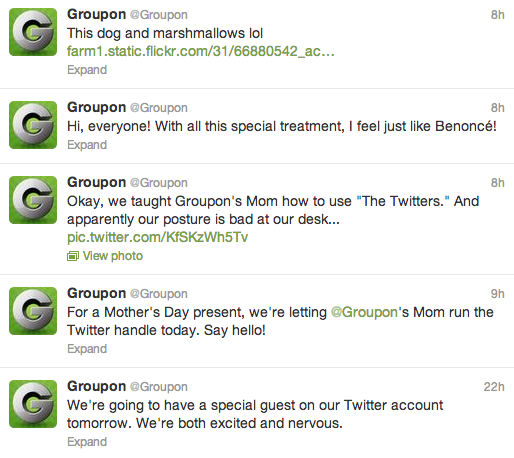 "GroupOn had the ""GroupOn Mom"" run its Twitter account in advance of Mother's Day, with hilarious results."