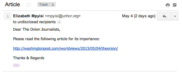 An example of the phishing email that allowed the Syrian Electronic Army to gain access to the Onion's Twitter account.