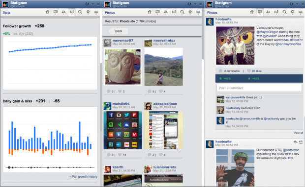 A screenshot of the statigram app