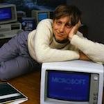 Bill Gates Reclining on Desk