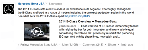 An example of a sponsored update from Mercedes-Benz USA. Image Courtesy of LinkedIn.