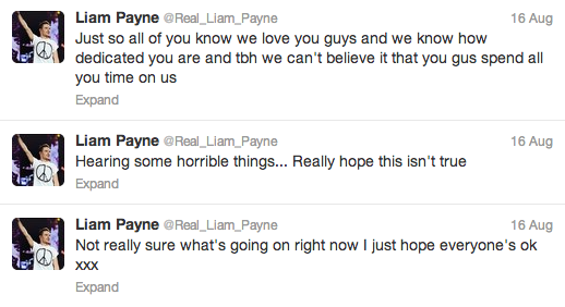 Tweets by One Direction member Liam Payne addressing the rumours.