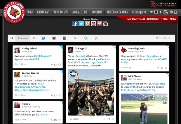 Social Media Hub created by University of Louisville students