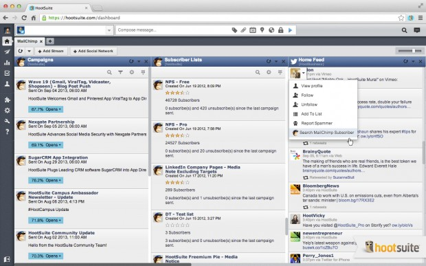 Easily view whether a Twitter or Facebook user is a Subscriber to your MailChimp Lists.