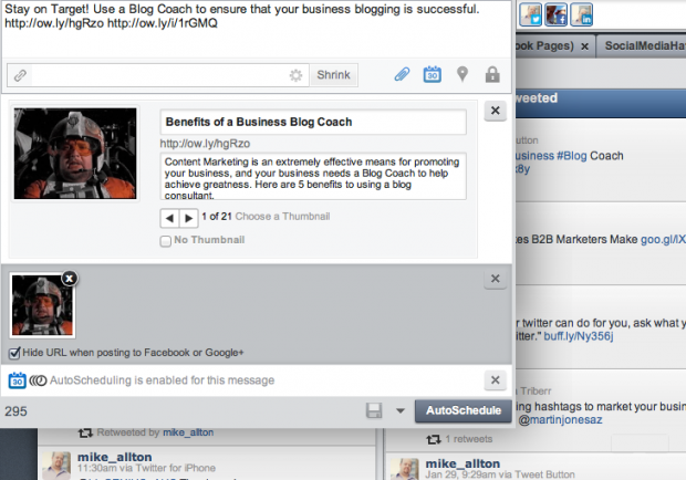 An example of the preview that appears when you attach an image to a social media message with HootSuite.