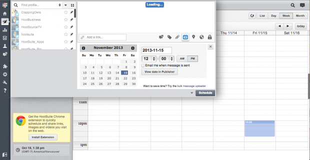 Want to schedule a Tweet for noon on a Friday? Just click it and go.