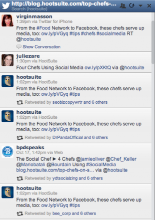 To track the shares of a blog post, make a search Stream in HootSuite, and use your full url as a search term.